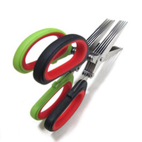 Kabalo 5-blade RED Herb Scissors for Garden / Home - Slice, Shred, Fine Cut, etc