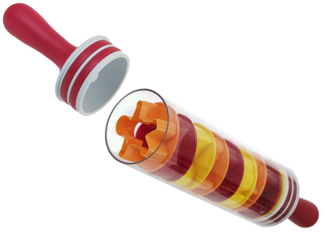 Kabalo ROLL and STORE ROLLING PIN with 9 Cookie Cutters incl - hollow, can fill with ice