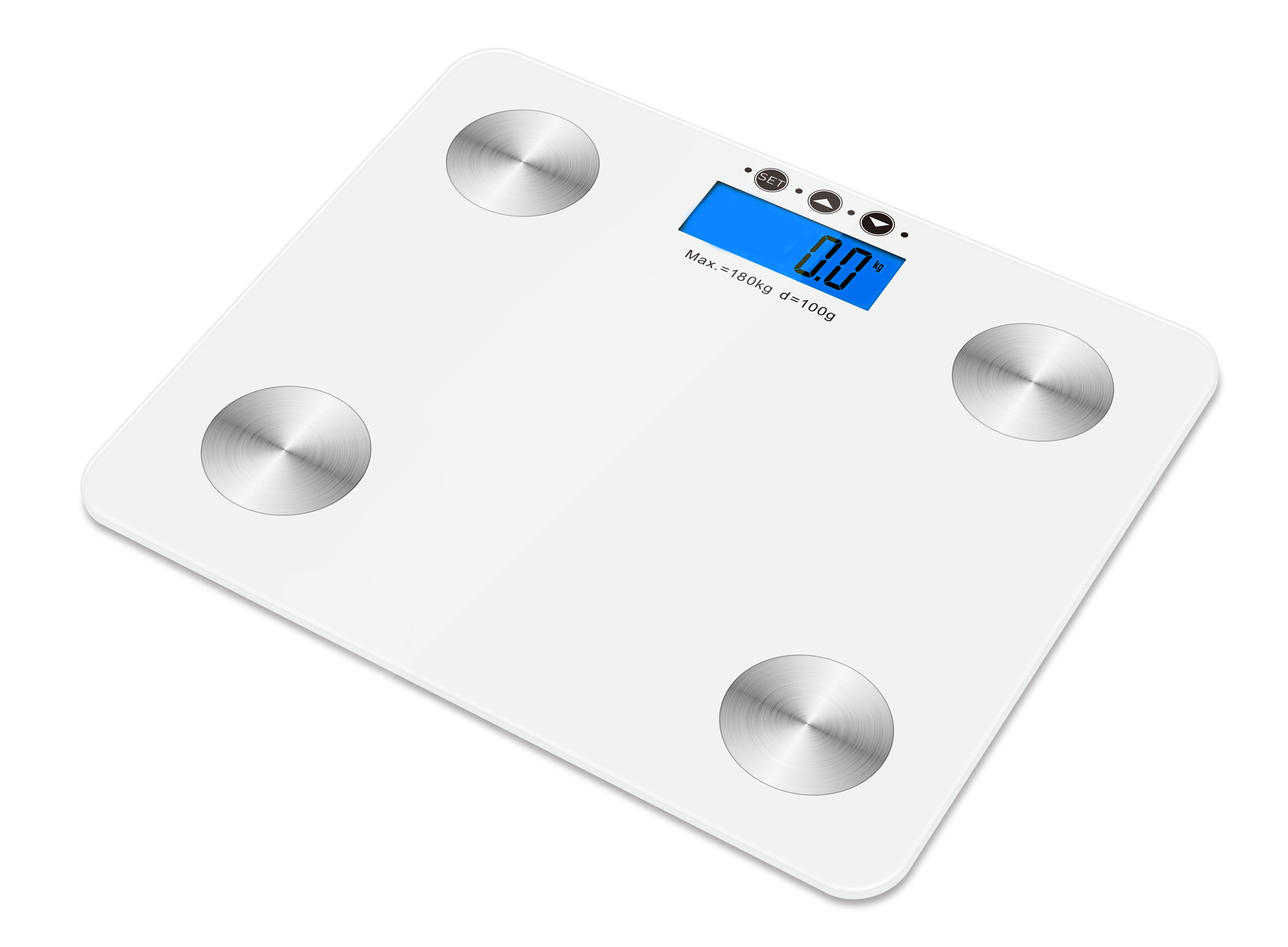 Kabalo White 180kg Capacity Electronic Digital Multi-Function BODY FAT Composition Water Muscle Bone Calories BMI Analyser, Batteries Included! Stylish Premier Bathroom Scale, with blue backlight