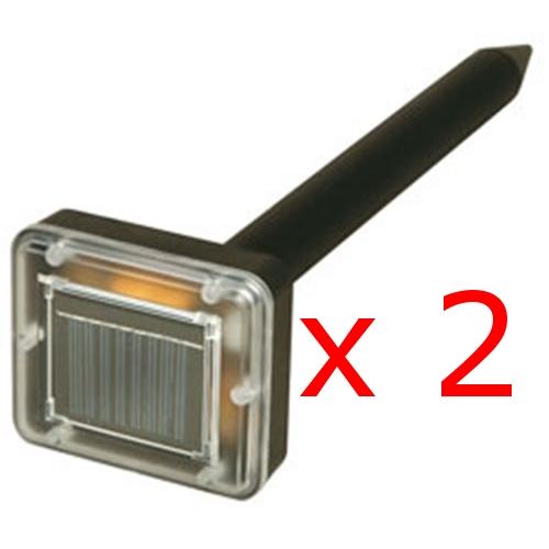 2 x Kabalo Solar Powered Garden Sonic Waves Mole Repeller - also for Rat, Mice, Pest repelling, etc