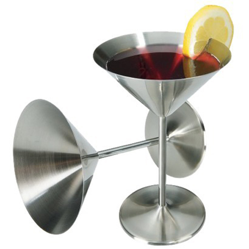 Kabalo Set of 2: Vintage Retro Elegant Stylish Stainless Steel Cocktail Martini Manhattan Cosmopolitan Bar Pub Drinkware Glasses / Goblets