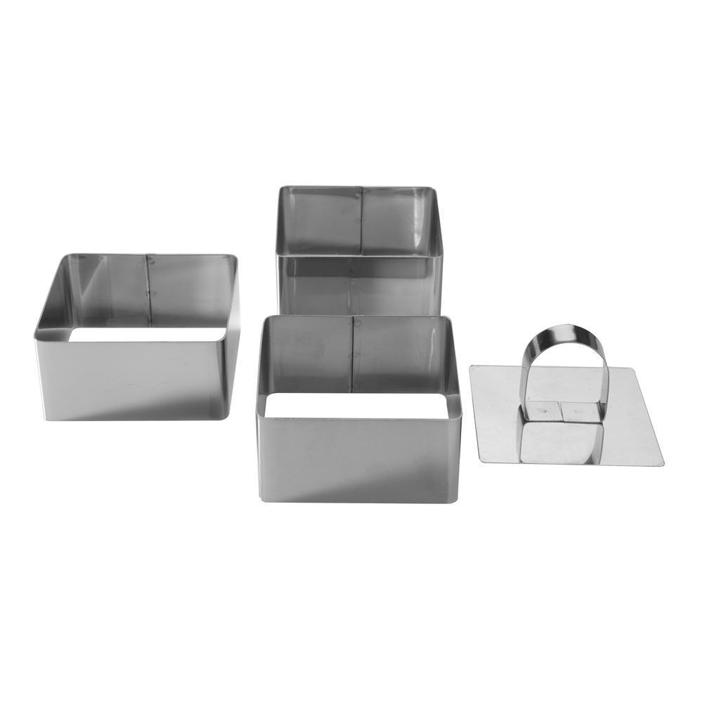 Kabalo Pro Stainless Steel 3-Piece Food Square Press Set - Cooking Presentation Rosti