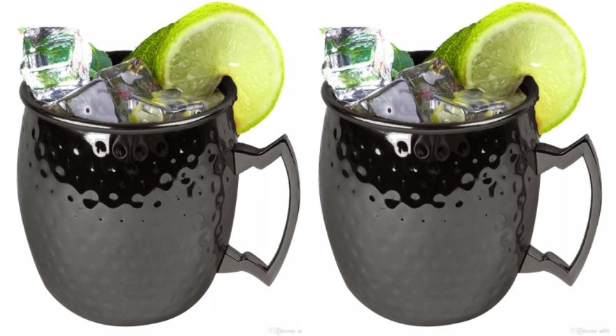 Kabalo Black Moscow Mule Mug Set Of 2 Cocktail Barrel Style Tankard Cup Kitchen Barware