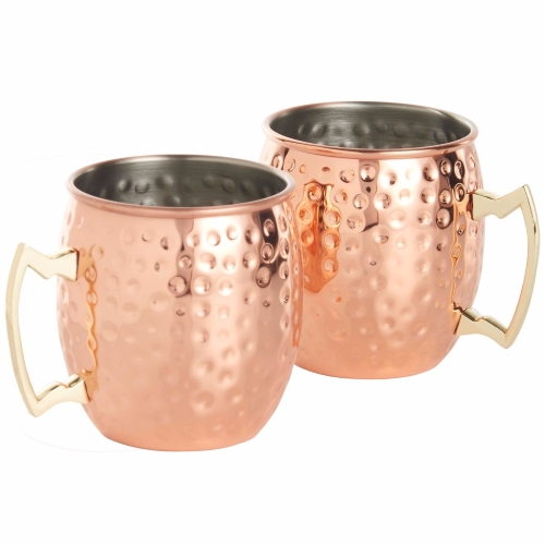 Kabalo Copper Moscow Mule Mug Set Of 2 Cocktail Barrel Style Tankard Cup Kitchen Barware