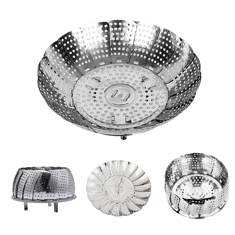 Kabalo Stainless Steel Foldable Vegetable Steamer Basket Adjustable Collapsible Colander Kitchen Food Accessory Tool